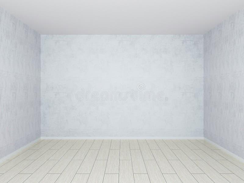Parete intonacante concreta grigia e pavimento di legno leggero illustrazione vettoriale