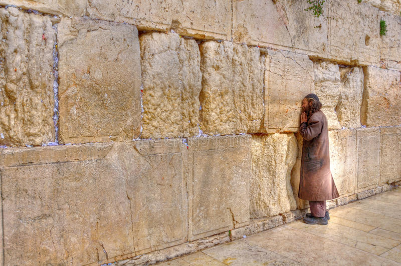 Parete lamentantesi che prega, Gerusalemme Israele fotografia stock