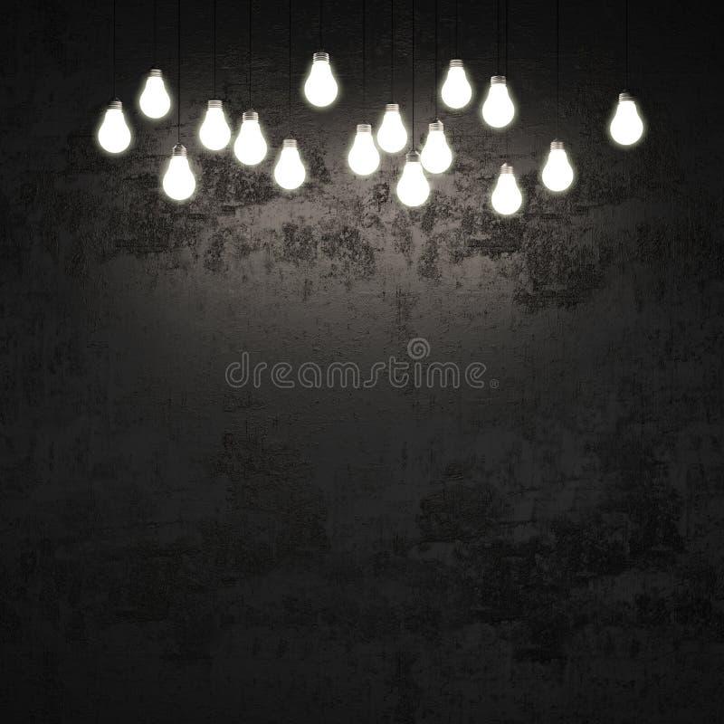Parete nera con le lampadine immagini stock libere da diritti