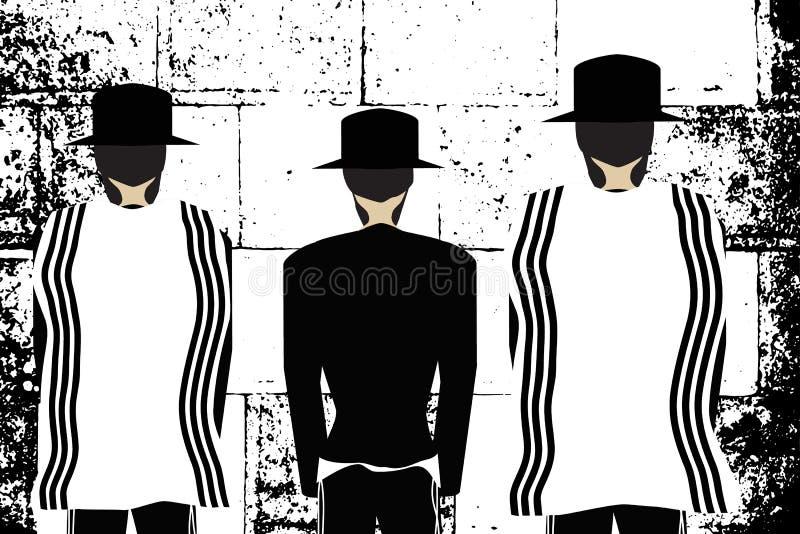 Parete occidentale, Gerusalemme La parete lamentantesi Hasidim ebreo religioso in cappelli e il talit pregano Illustrazione in bi royalty illustrazione gratis