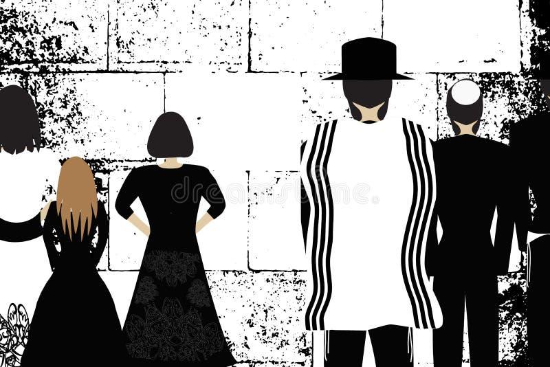 Parete occidentale, Gerusalemme La parete lamentantesi Hasidim ebreo religioso in cappelli e talith e le donne pregano Vettore in illustrazione vettoriale