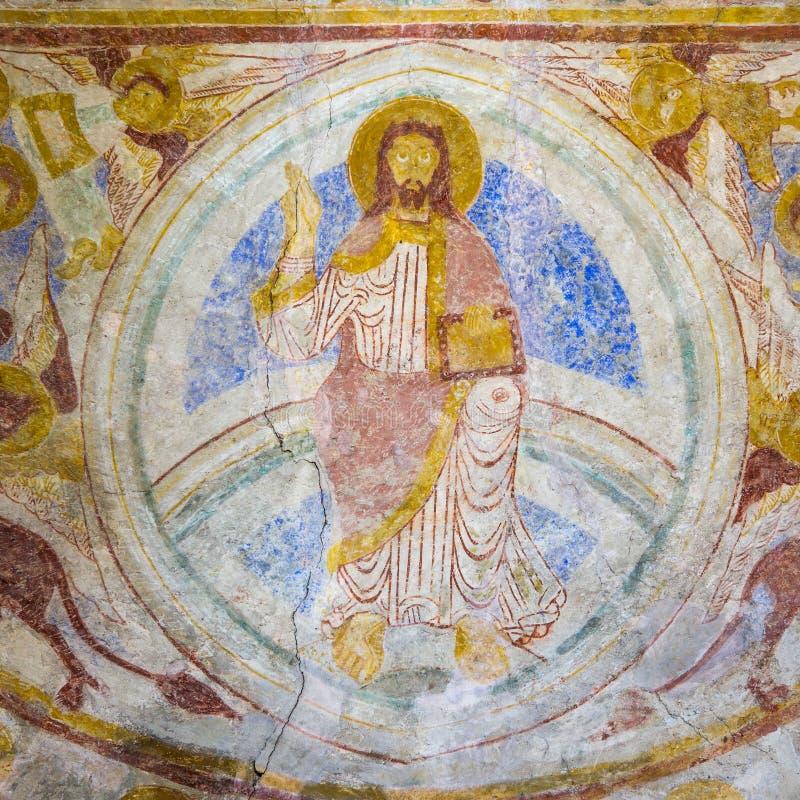 Parete-pittura romanica di Majestas Domini immagine stock
