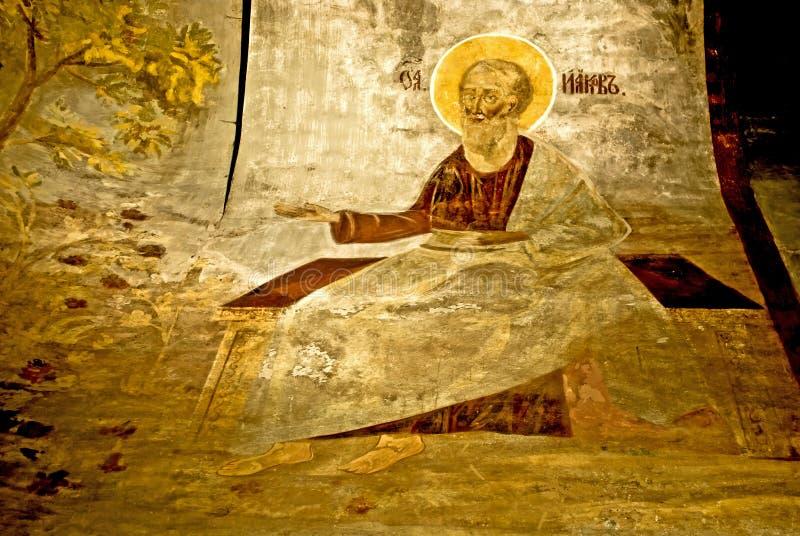 Parete russa dell'icona di secolo dell'affresco XVI della chiesa di ortodossia che dipinge scena iconografica fotografia stock libera da diritti
