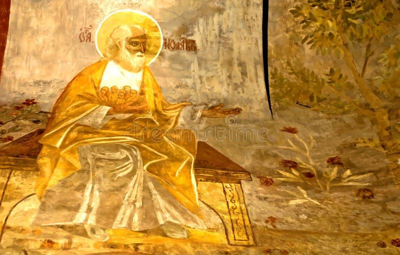 Parete russa dell'icona di secolo dell'affresco XVI della chiesa di ortodossia che dipinge scena iconografica fotografie stock