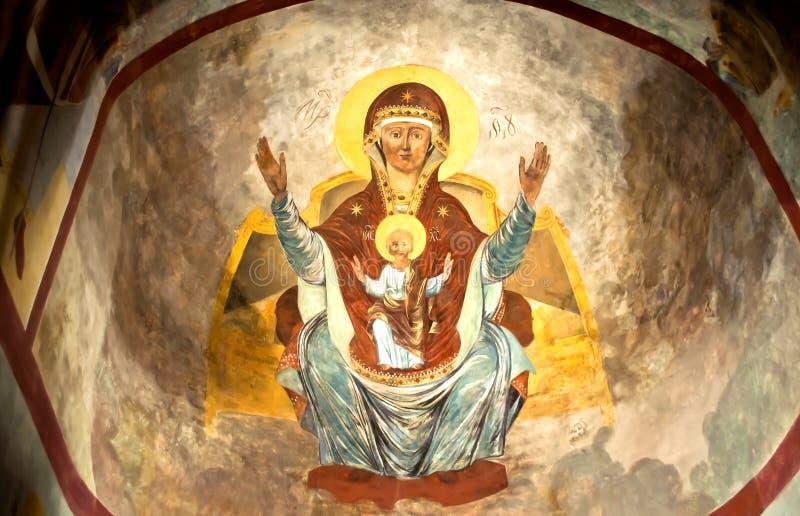 Parete russa dell'icona di secolo dell'affresco XVI della chiesa di ortodossia che dipinge scena iconografica fotografia stock