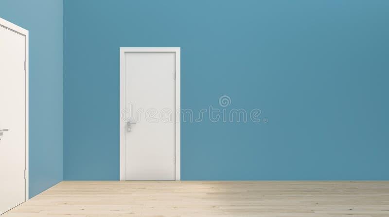 Parete semplice piana del blu di turchese all'angolo retto con la porta bianca e la pavimentazione di legno, modello, modello, co illustrazione vettoriale