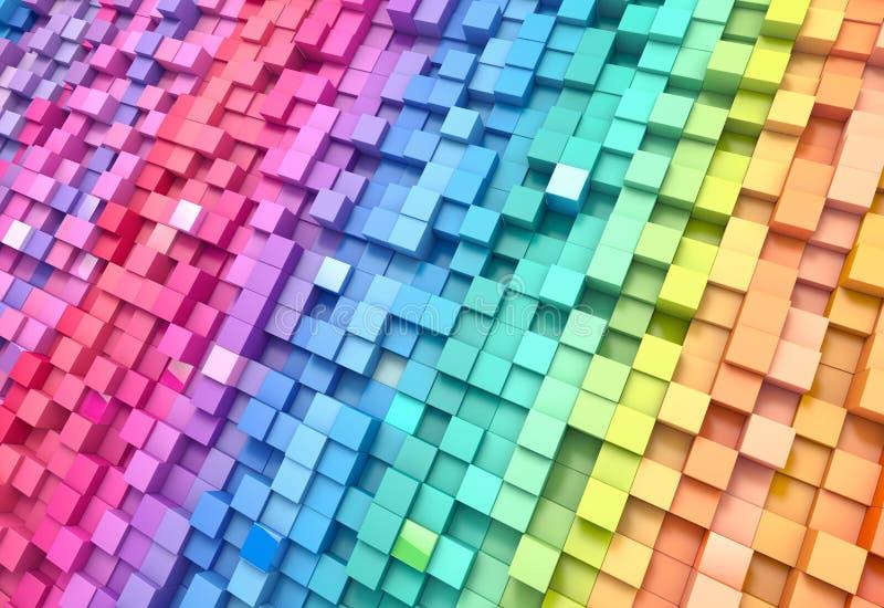 parete variopinta dei cubi del fondo dell'estratto della rappresentazione 3D immagine stock