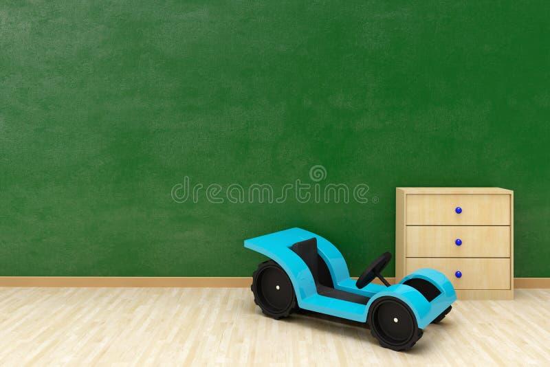 Parete verde con l'automobile e la copia del giocattolo royalty illustrazione gratis