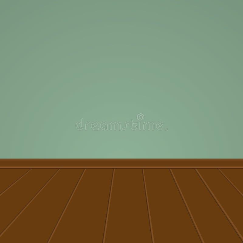 Parete verde con un pavimento di legno illustrazione di stock