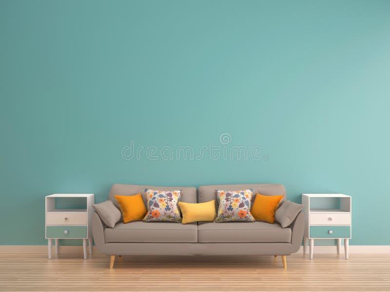 Parete verde della menta con il sofà & credenza sul pavimento di legno illustrazione di stock