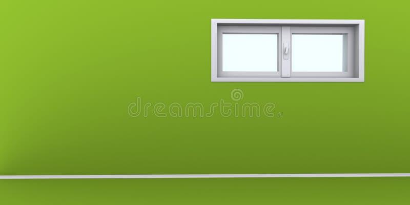 Parete verde vuota con le finestre fotografie stock libere da diritti