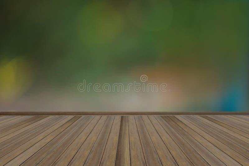 Parete verde vuota e pavimento di legno immagini stock
