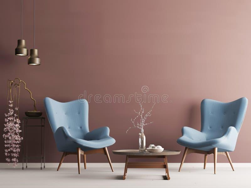 Parete vuota nell'interno moderno pastello con la parete di Borgogna, le poltrone molli, la pianta e le lampade illustrazione vettoriale