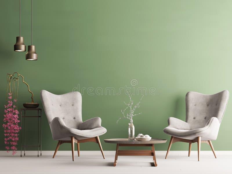 Parete vuota nell'interno moderno pastello con la parete verde, le poltrone molli, la pianta e le lampade royalty illustrazione gratis