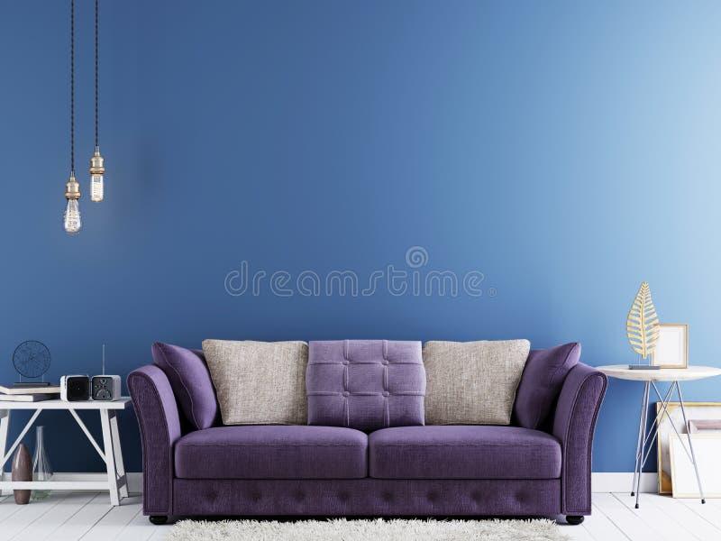Parete vuota per derisione su su una parete blu nell'interno moderno dei pantaloni a vita bassa con il sofà viola e la tavola bia illustrazione vettoriale