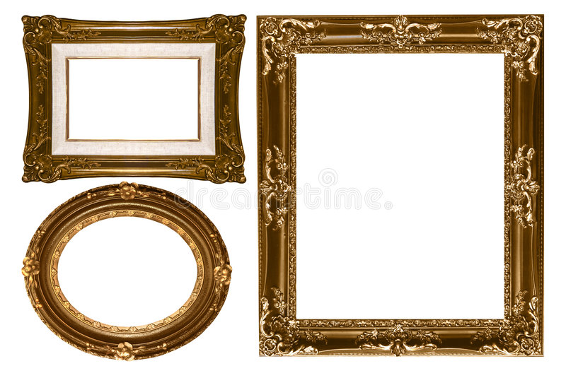 Parete vuota pi dell'oro decorativo ovale e rettangolare fotografie stock
