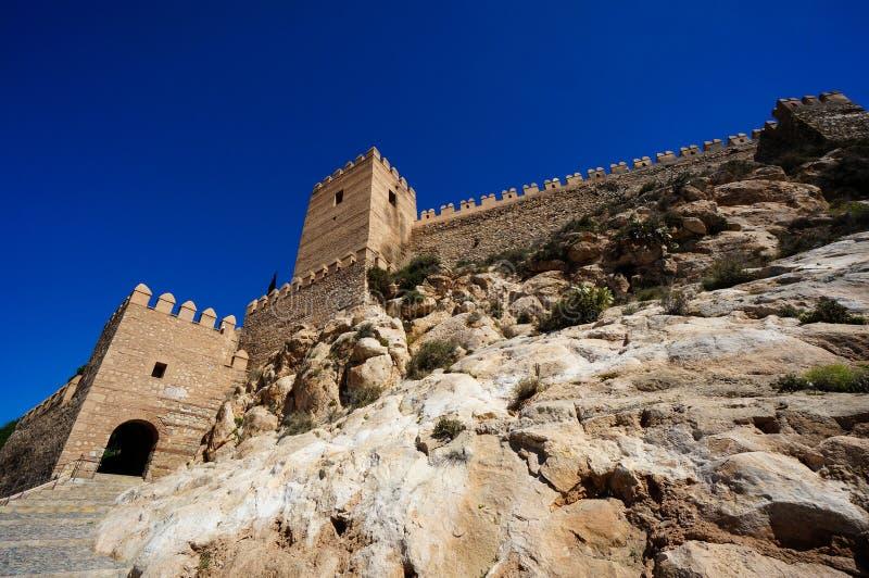 Pareti castello fortificato di Almeria, Spagna fotografie stock
