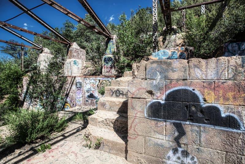 Pareti dei graffiti alla città fantasma della miniera di Prescott Arizona Old Silver fotografia stock libera da diritti