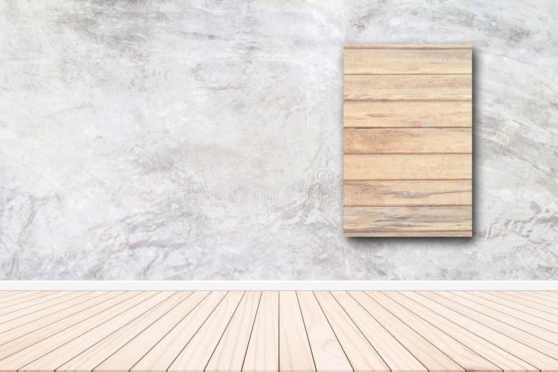 Pareti del cemento dell'intonaco del fondo con le pareti ed il parquet grigi fotografia stock libera da diritti