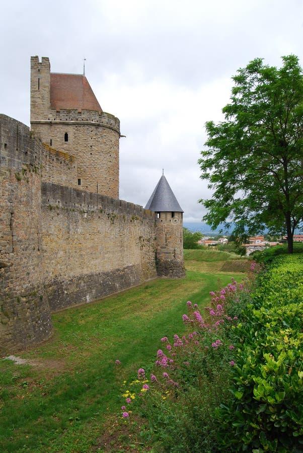 Pareti della città francese Carcassonne fotografie stock libere da diritti