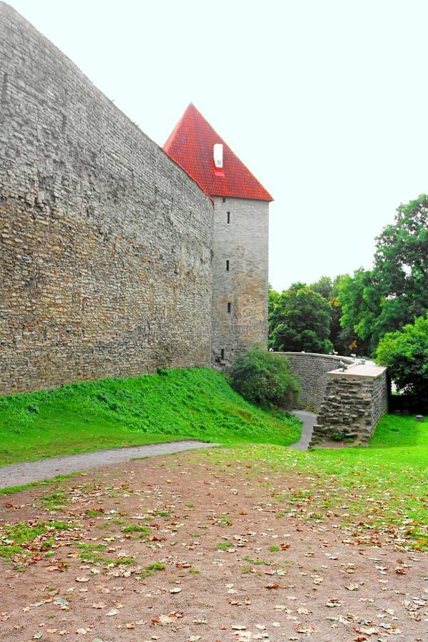 Pareti della fortezza di Tallinn, Estonia Le pareti ed i molti portoni sono ancora oggi in gran parte extant fotografia stock libera da diritti