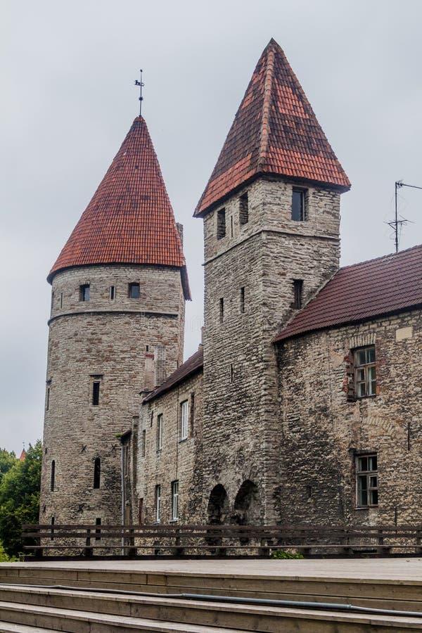 Pareti della fortificazione di Città Vecchia a Tallinn, Eston fotografie stock libere da diritti