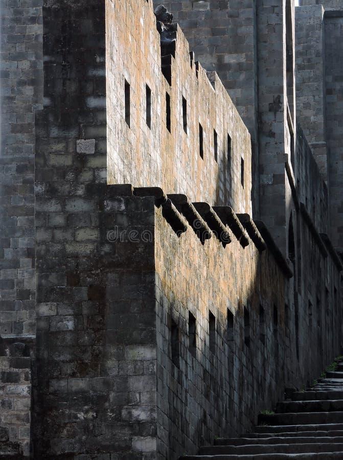 Pareti della fortificazione di Kangra di architettura dell'India fotografia stock libera da diritti