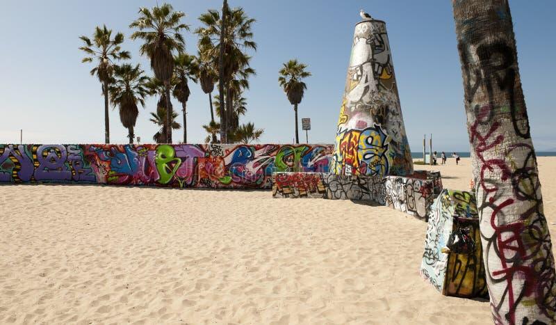 Pareti di arte sulla spiaggia di Venezia, Los Angeles fotografia stock