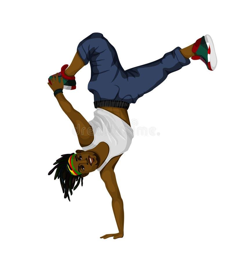 pareti di pietra dell'uomo di dancing della priorità bassa giovani illustrazione vettoriale