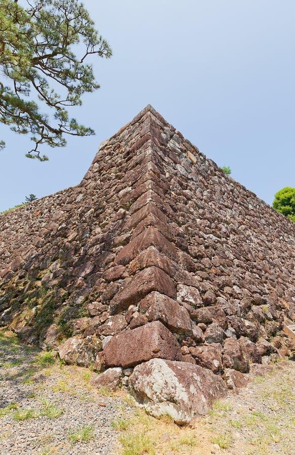 Pareti di pietra (ishigaki) del castello del Kochi, città del Kochi, Giappone immagini stock libere da diritti