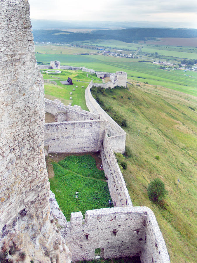 Pareti massicce della fortificazione del castello di Spissky fotografia stock libera da diritti