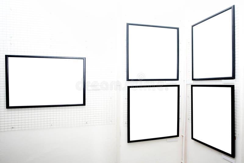 Pareti in museo con i blocchi per grafici immagini stock
