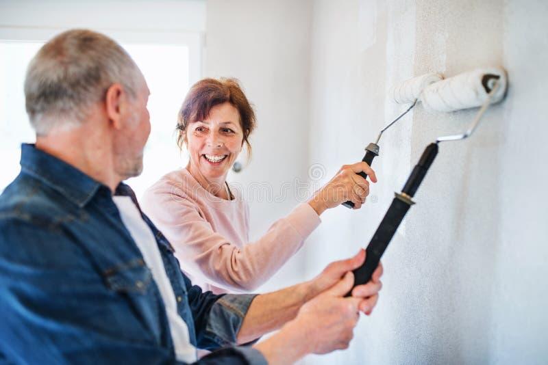 Pareti senior della pittura delle coppie nella nuova casa, concetto di rilocazione immagini stock libere da diritti