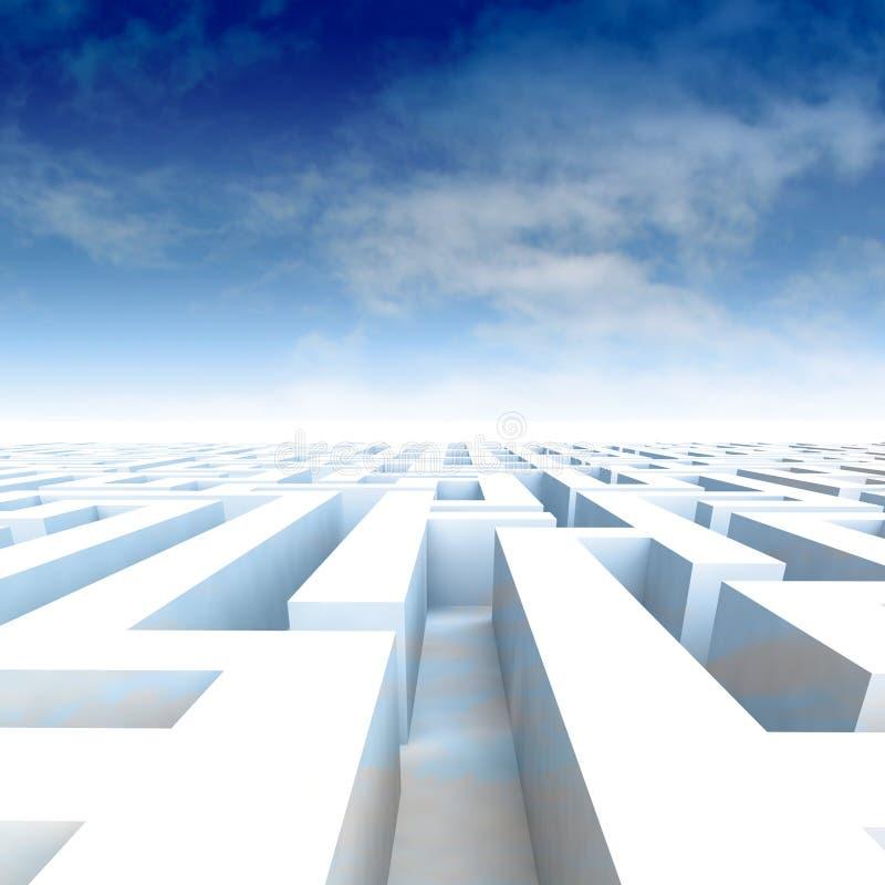 Pareti stupefacenti del labirinto con il cielo nuvoloso blu illustrazione vettoriale
