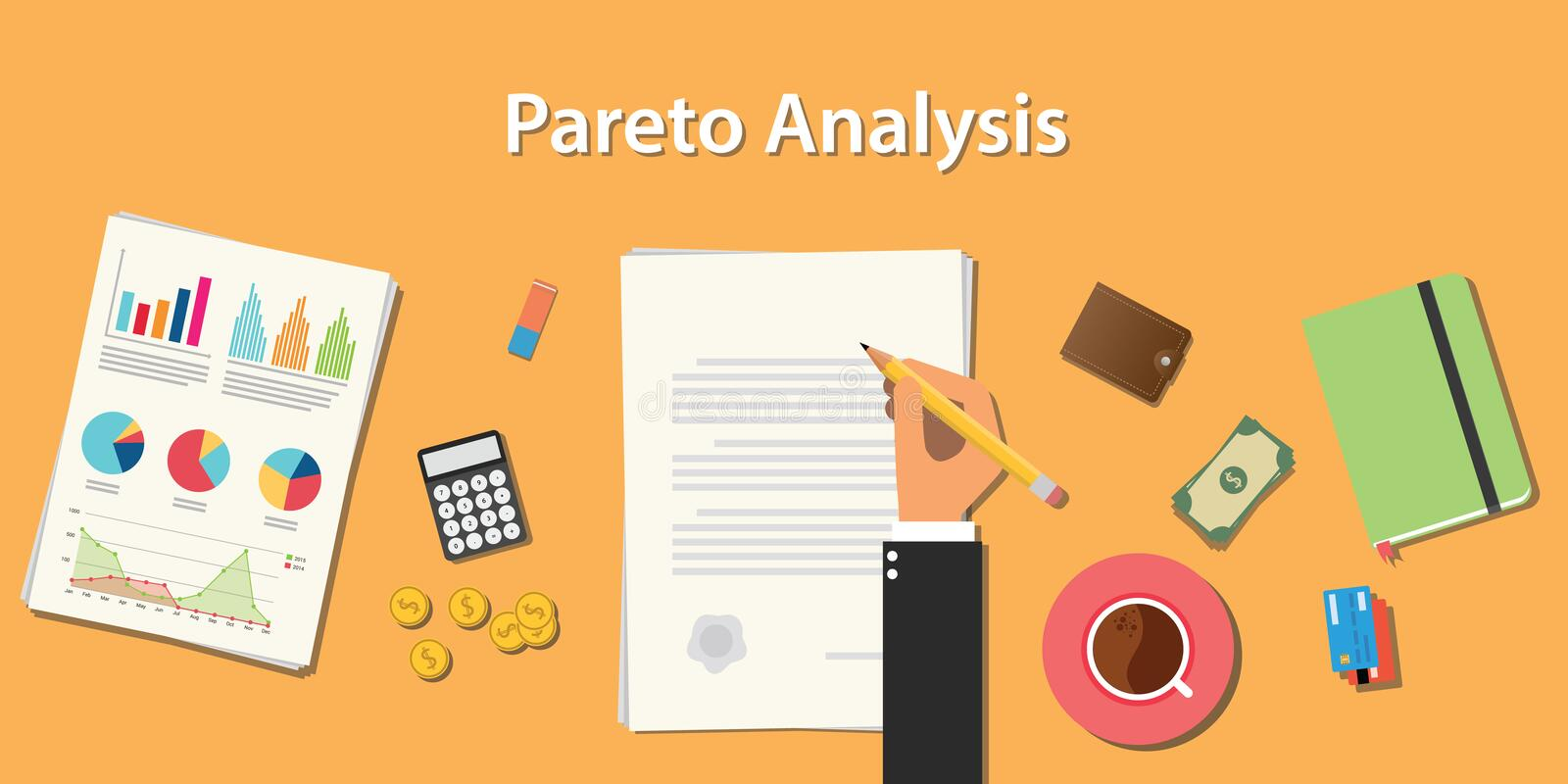 Pareto analysis illustration with businessman working on paper document royalty free illustration
