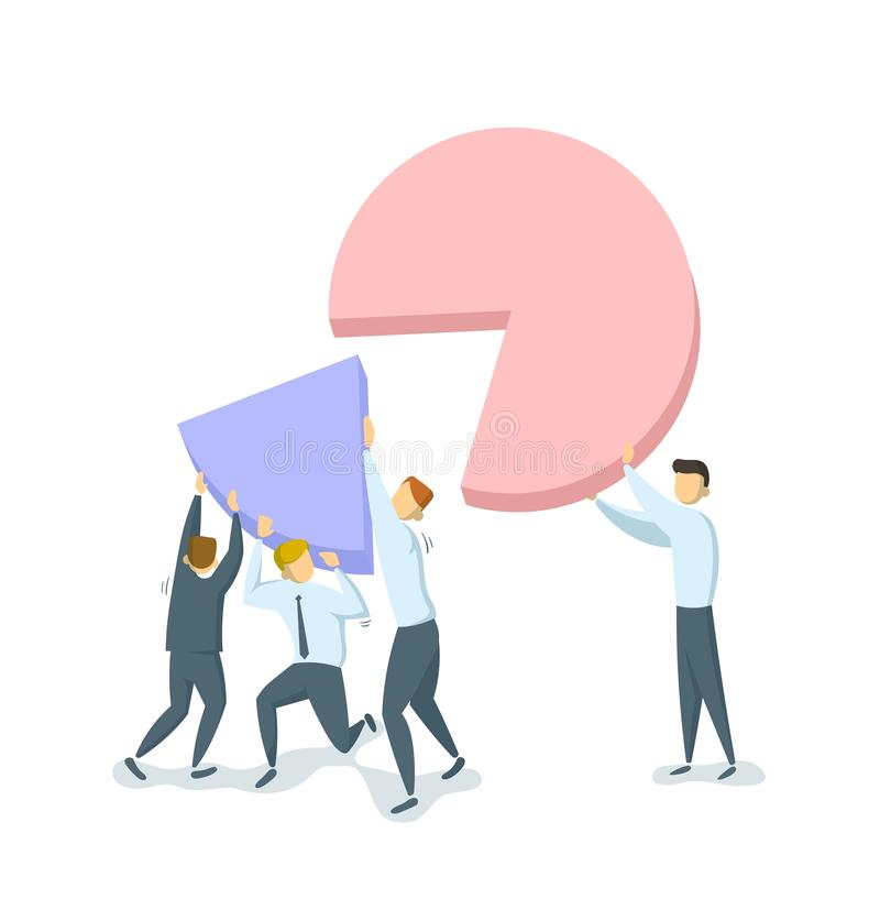 Pareto principe, wet van essentieel weinig concept Bedrijfsconcept met karakters en diagram Efficiënt en inefficiënt vector illustratie