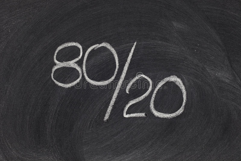 Pareto principle, eighty-twenty rule. Pareto principle or eighty-twenty rule represented on a blackboard - white chalk handwriting stock image