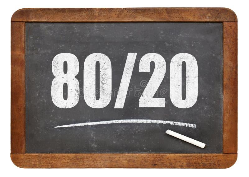 Pareto principle, eighty-twenty rule on blackboard. Pareto principle or eighty-twenty rule - white chalk text on a vintage blackboard blackboard isolated on royalty free stock photography
