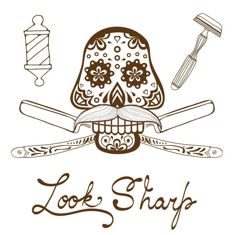 Parezca sostenido Cráneo con el bigote Gráficos dibujados mano retra del estilo para el emblema de la peluquería de caballeros ilustración del vector