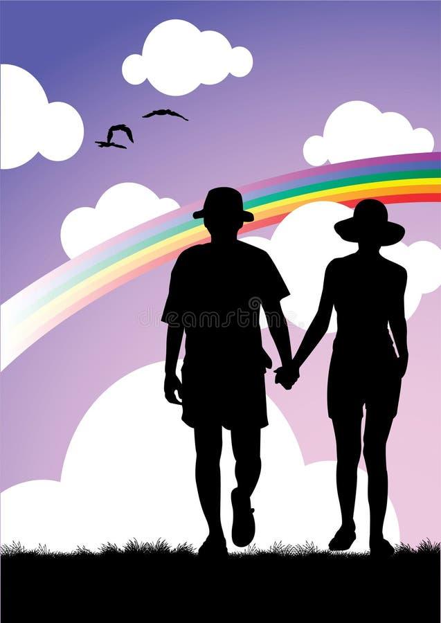 parförälskelse vektor illustrationer