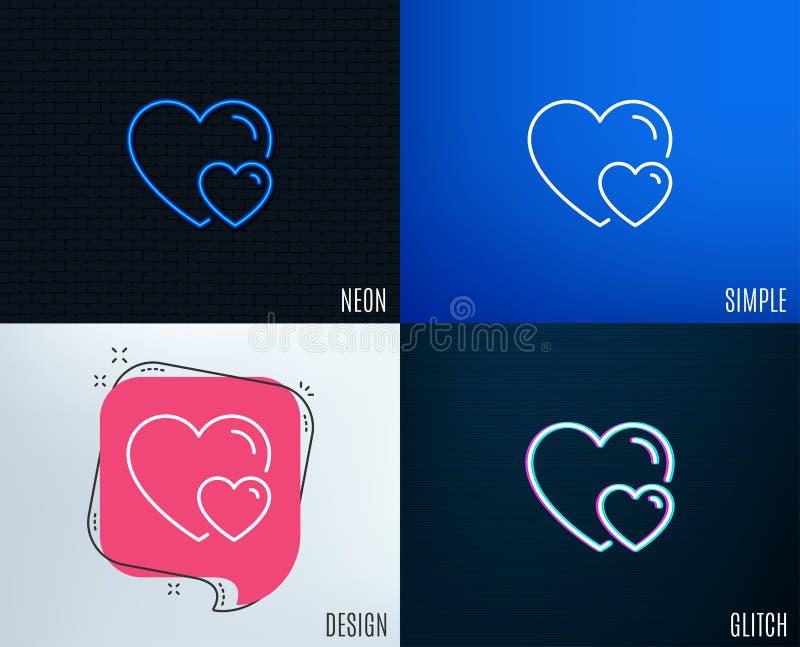 Parförälskelselinje symbol Tecken för två hjärtor royaltyfri illustrationer