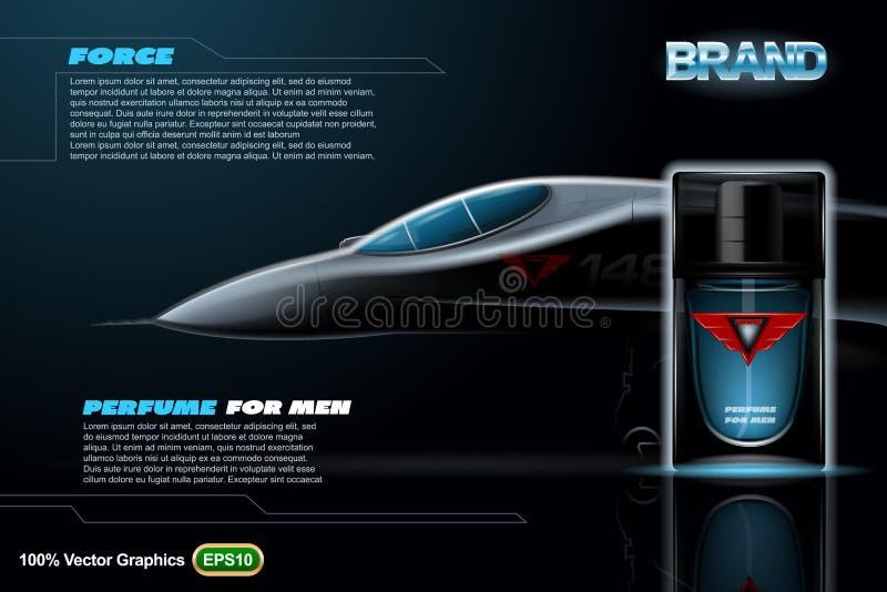 Parfüm für Manndruckschablone auf schwarzem Hintergrund mit Flugzeugen Realistischer Spott oben stock abbildung