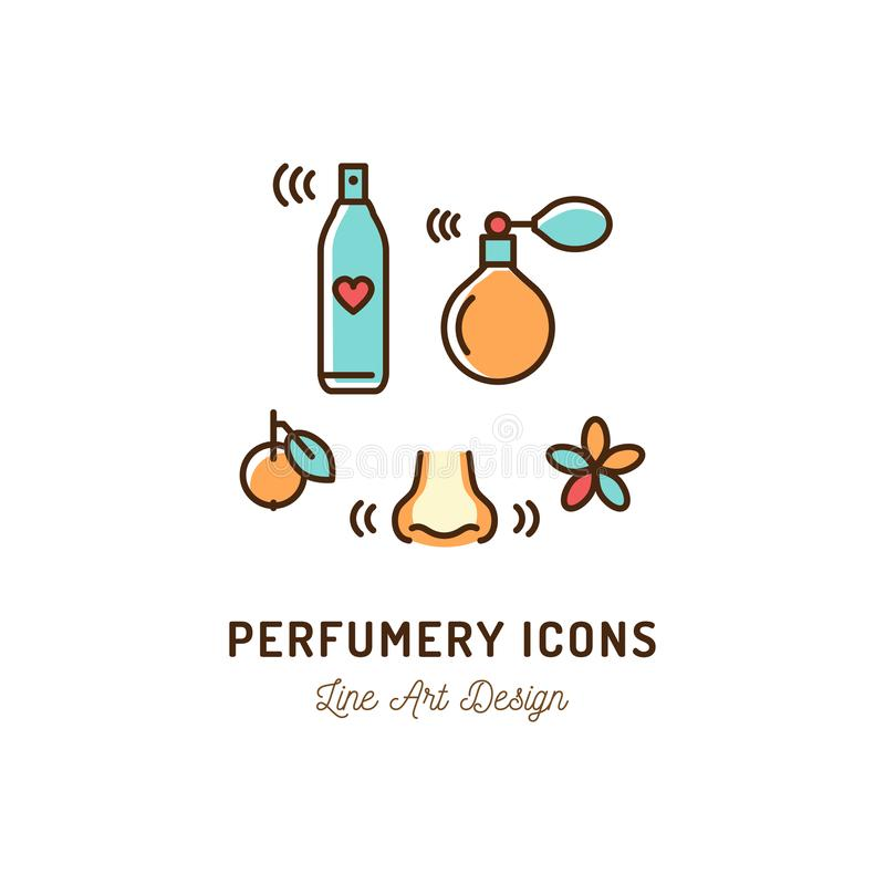 Parfümerie-Ikonen Parfüm, desodorierendes Mittel, Riechen und Geruch, Nase Dünne Linie buntes Design der Kunst, Vektorillustratio stock abbildung