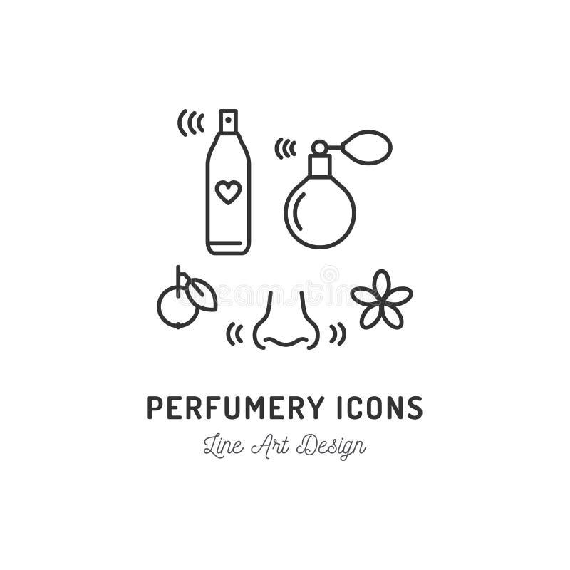 Parfümerie-Ikonen Parfüm, desodorierendes Mittel, Riechen und Geruch, Nase Dünne Linie Kunstdesign, Vektorentwurfsillustration vektor abbildung