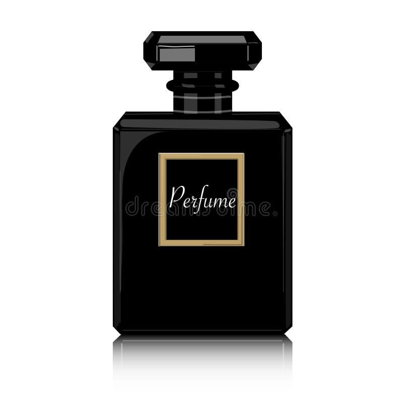Parfümvektordruck Schwarze Flaschenhaute couturen, stilvolle Illustration der Schönheit Aromaflüssigkeit Kosmetischer Duft lizenzfreie abbildung