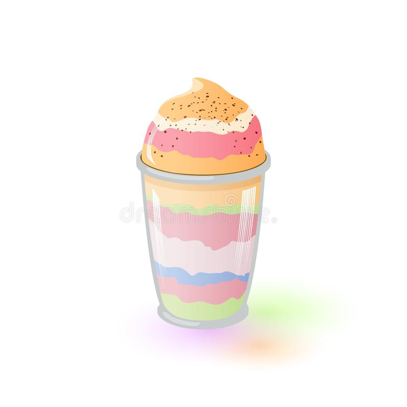 Parfait appétissant multicolore en verre Fruit et Berry Dessert Yaourt surgel? illustration stock
