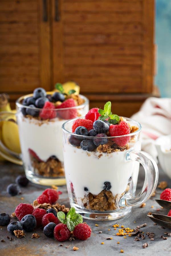 Parfait do iogurte com granola e bagas imagem de stock