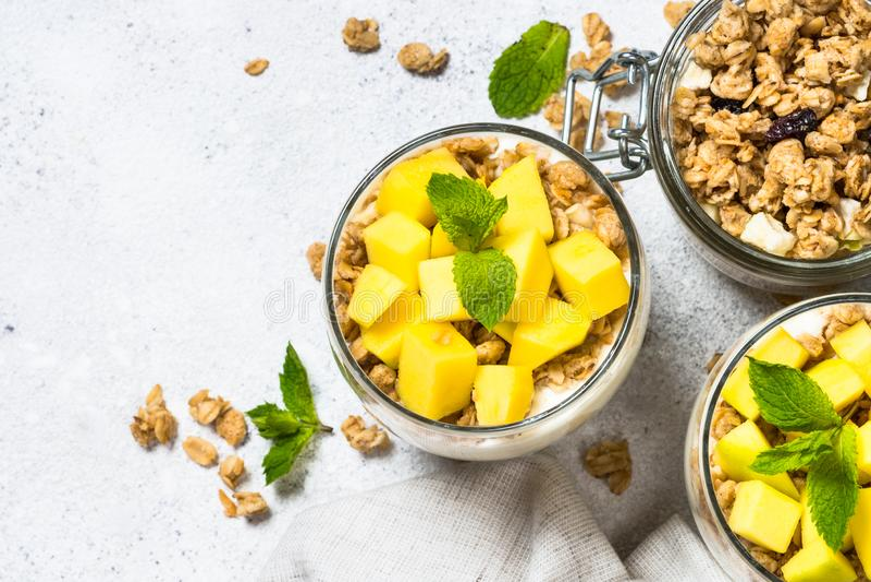 Parfait med bästa sikt för yoghurt, för mango och för granola arkivfoto