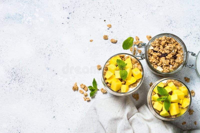 Parfait med bästa sikt för yoghurt, för mango och för granola royaltyfri fotografi