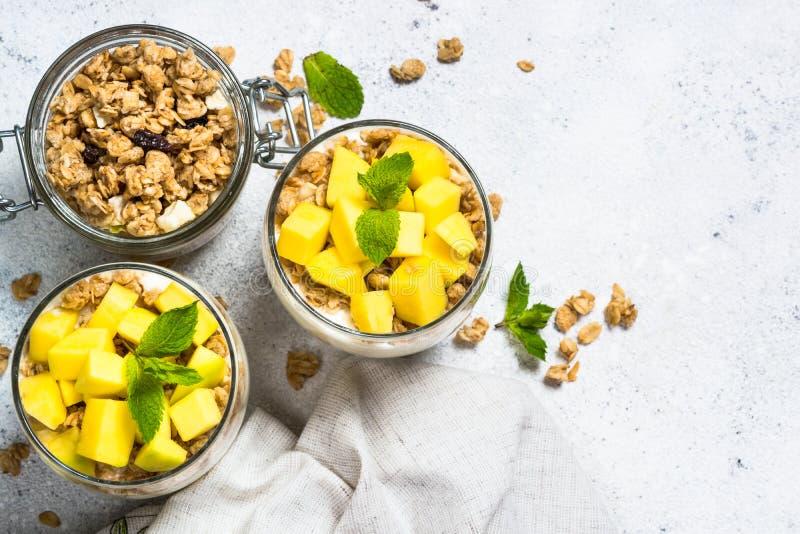 Parfait med bästa sikt för yoghurt, för mango och för granola royaltyfria bilder